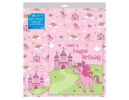 birthday gift wrap 2 sheets of pink unicorn birthday gift wrap wrapping paper card