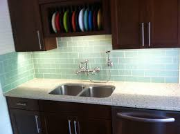 kitchen mosaic blue granite backsplash brown wooden kitchen
