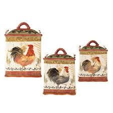 rooster canisters kitchen products international tuscan rooster by gladding 3 pc kitchen