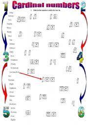 esl worksheets for beginners cardinal numbers 1 100