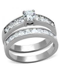 stainless steel wedding ring sets steel bridal ring set