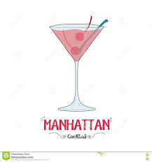 manhattan drink manhattan cocktail for a customer illustration for bar business