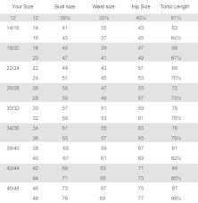 plus size clothing size charts clothing size chart fullbeauty