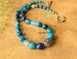 turquoise stone necklace set images Modern statement agate blue stone necklace and earrings set at jpg
