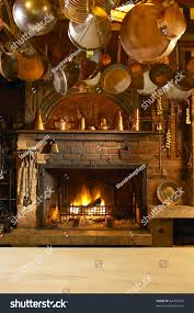 old country style kitchen fireplace stock photo 62704978