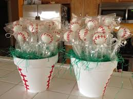 baseball pots filled with cake pops handpainted pot to look like