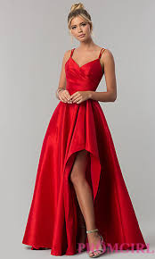 stretch taffeta high low prom dress promgirl
