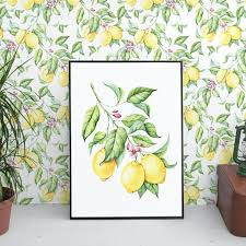 lemon print wallpaper removable wallpapers floral watercolor