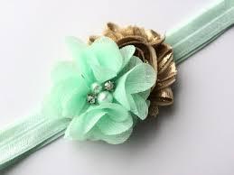 mint green headband mint green and gold flower headband for easter headband for