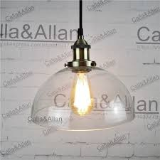 round fabric shade pendant light vintage brass iron finished clear glass round shade pendant l