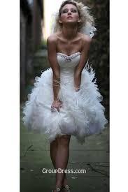 Short Wedding Dresses Romantic Feather Organza Beaded Strapless Short Wedding Dress