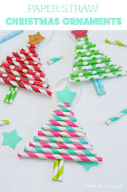 kids diy ornaments pretty paper straw christmas trees