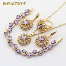gold earrings necklace images Hot sale gold color jewelry sets for women wedding purple stones jpg