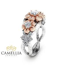 floral engagement rings three diamond engagement ring 14k two tone gold branch ring
