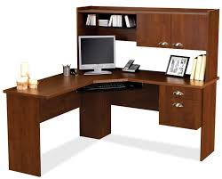 wooden l shaped computer desk for corner with cabinet and hanging