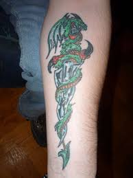 dragon n dagger tattoo on forearm photo 2 photo pictures and