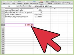 Amortization Table With Extra Payments How To Calculate A Balloon Payment In Excel With Pictures