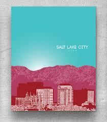 Home Decor Salt Lake City Salt Lake City Skyline Home Art Poster Modern Decor Art Print