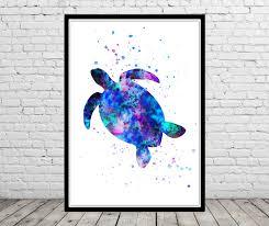 sea turtle turtle watercolor art print animal print home