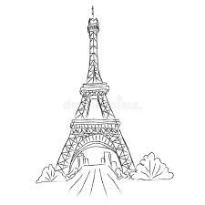 eiffel tower paris france sketch white background vector