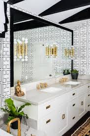 white and black bathroom with greek key wallpaper contemporary