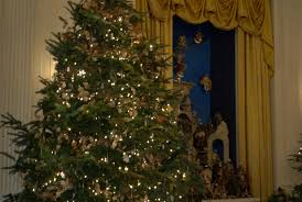 white house tree and nativity in the east room