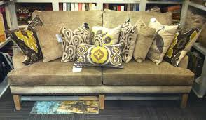 this gorgeous gray beige textured velvet sofa features a driftwood