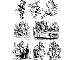 alice wonderland clipart book character pencil color