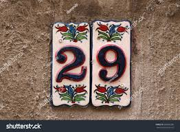 house numbers different styles colors concept stock photo