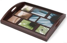 personalized photo serving tray host serving tray br by umbra in espresso grain wood picture
