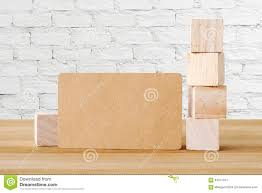 Recycle Paper Business Cards Blank Recycle Paper Business Card And Wooden Cubes On Table And
