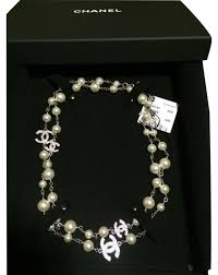 pearl swarovski crystal necklace images Chanel silver pearl classic cc swarovski crystal necklace tradesy jpg