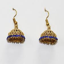 jhumka earrings online shopping shopieo gold plated blue traditional small jhumka earrings