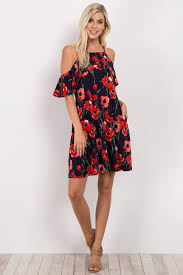 cold shoulder dress navy blue floral cold shoulder maternity dress