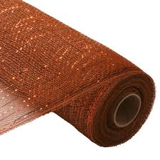 copper ribbon 21 brown with copper foil metallic deco poly mesh