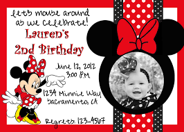 Create Birthday Invitation Cards Minnie Mouse Birthday Invitations Kawaiitheo Com