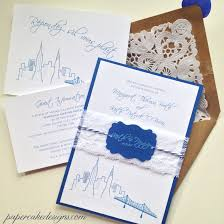 wedding invitations new york custom wedding invitation city skyline papercake designs