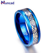 blue rings images Nuncad men 39 s 8mm blue tungsten carbide wedding band rings gold jpg