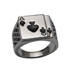 cool mens rings classic cool men s enamel spades ring seren marketing solution