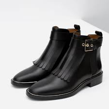 ladies leather biker boots leather ankle boot with fringes view all shoes woman zara united