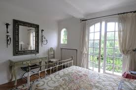 french country bedroom white stripe pattern bedroom window