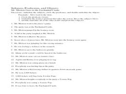 subjects predicates and objects 6th 7th grade worksheet
