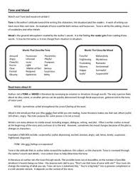 tone and mood worksheet using context clues to determine tone mood