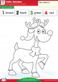reindeer worksheet u2013 color number super simple