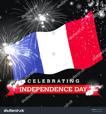 The France Flag Independence Day Fireworks France Flag Concept Stock Illustration