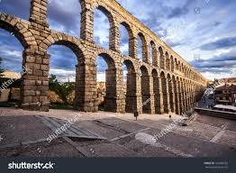 famous ancient aqueduct segovia castilla y stock photo 120360352
