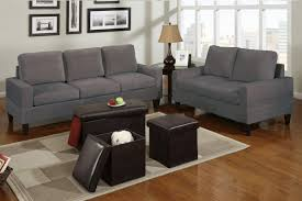 Bob Kona  Piece Livingroom Set In Grey Microfiber Huntington - Microfiber living room sets