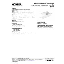 kohler k 5827 0 whitehaven white apron front single bowl kitchen