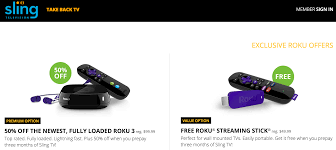 Sling Tv Free Amazon Roku Streaming Devices If You Prepay For 3 Months Of
