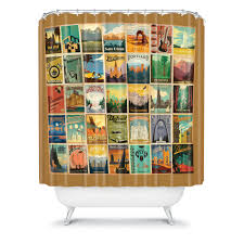 Deny Shower Curtains Vintage Post Card Shower Curtain Happiness Redbird